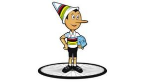 Pinokkio mascotte WK wielrennen
