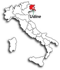 Udine op de kaart van Itali