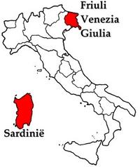 Kaart van Sardinië en Friuli