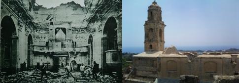 De aardbeving ruineerde ook de kerk, en die is nog steeds niet hersteld