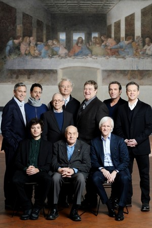 De sterrencast van Monuments Men poseert voor Da Vinci s laatst avondmaal