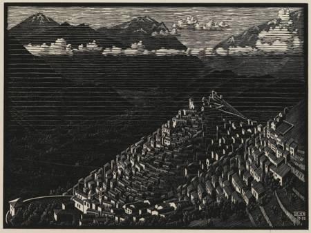 De houtsnede van Escher van Morano in Calabrië