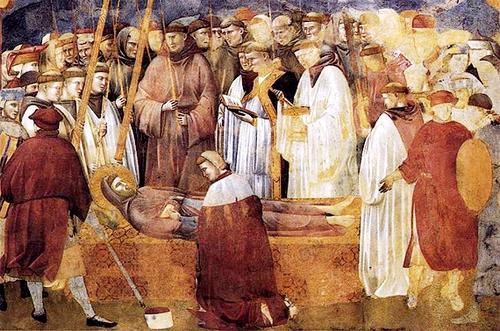Legende van Sint Franciscus, deel 22: Verificatie van de Stigmata, serie fresco's van Giotto di Bondone (1300) in de bovenkerk van de Sint-Franciscusbasiliek in Assisi