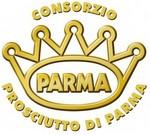 Het bekende logo van de echte Parmaham