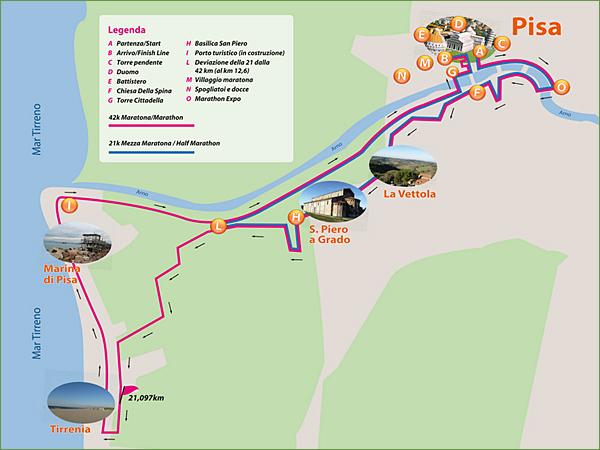 Het parcour van de Marathon van Pisa