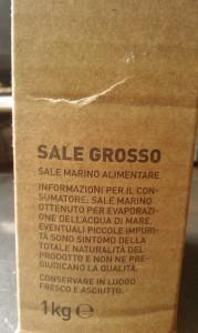 Afbeelding van een pak grof zout uit Italië