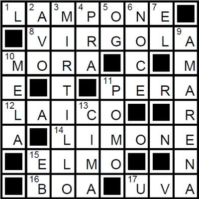 Italiaanse kruiswoord puzzel oplossing