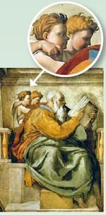 Jongetje met vinger in de Sixtijnse kapel