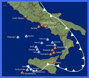 Kaart vulkanen-italie