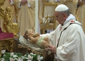 Paus Franciscus tijdens de Kerstmis in 2014