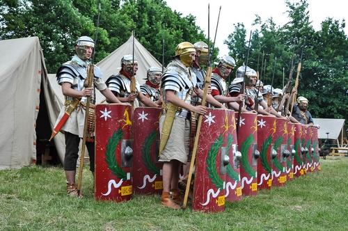 Romeins kampement op het Italie Evenement