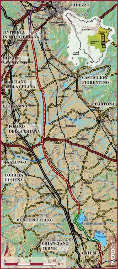 De route Chuisi - Arezzo. Kik om te vergroten