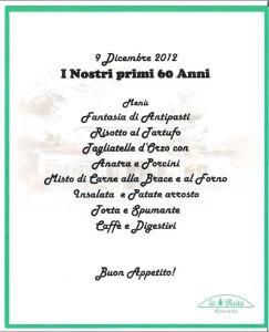 Het menu van de verjaardag