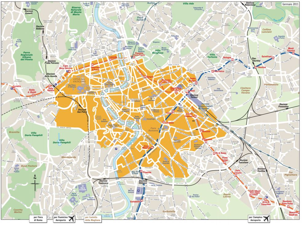 Ligt je bestemming in het oranje gebied dan is er een vaste ritprijs van en naar de luchthavens van Rome