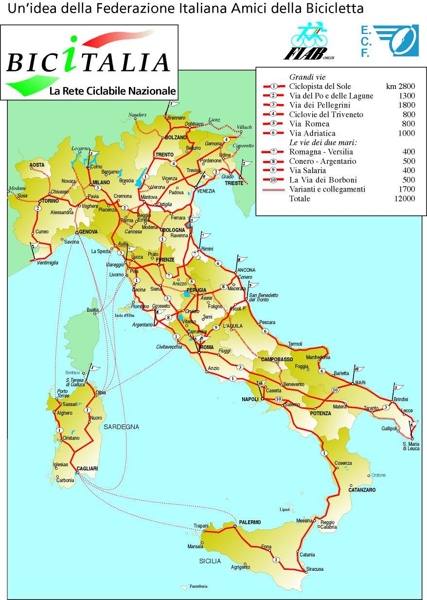 Italiaanse fietsroutes (klik om te vergroten)