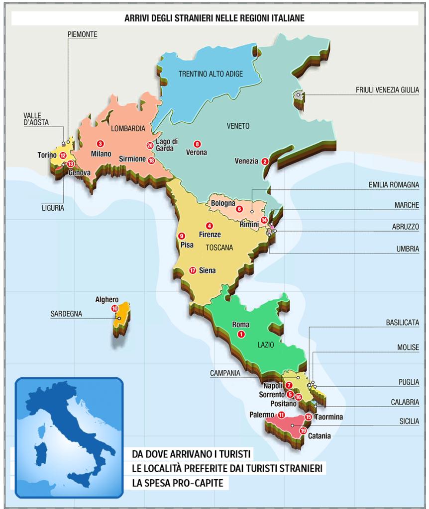 italie kaart toerisme