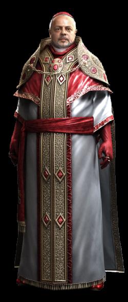 De geanimeerde versie van Rodrigo Borgia in de videogame Assassins Creed 2