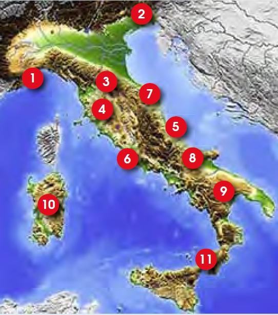De bergen lopen in Italië van Noord naar Zuid