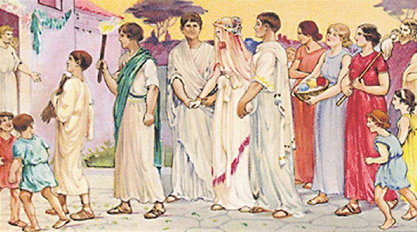Het bruidspaar wordt in een optocht met fakkels naar het huis van de bruidegom gebracht.